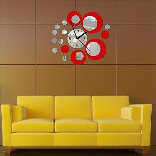 Orologio da parete con numeri tono 3d effetto specchio rotondi del cerchio rosso argento - Specchi rotondi da parete ...
