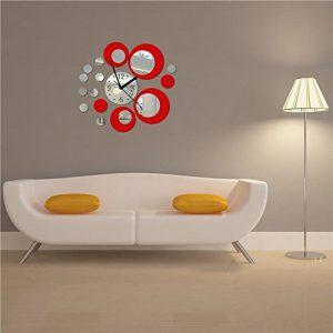 CasaNet-Orologio-da-Parete-Splendido-con-I-Numeri-Murales-Adesivi-Tono-3D-Effetto-Specchio-Rotondi-del-Cerchio-Rosso-Argento-Decorazione-Murali-da-Parete-Rimovibile-FAI-DA-TE-0
