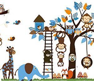 Giungla-foresta-animale-scimmia-scoiattolo-e-gufo-altalena-gioco-su-foglie-colorate-albero-Adesivo-Wall-Sticker-0-0
