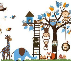 Giungla-foresta-animale-scimmia-scoiattolo-e-gufo-altalena-gioco-su-foglie-colorate-albero-Adesivo-Wall-Sticker-0