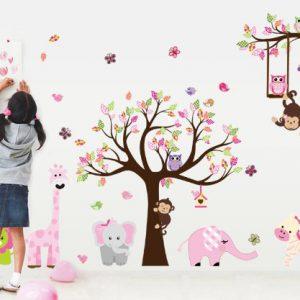 Giungla-foresta-animale-scimmia-scoiattolo-e-gufo-altalena-gioco-sul-wall-stickers-adesivo-da-parete-albero-di-scorrimento-colorata-sala-giochi-per-i-bambini-0-0