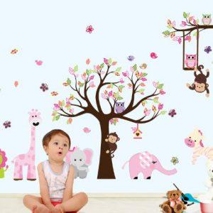 Giungla-foresta-animale-scimmia-scoiattolo-e-gufo-altalena-gioco-sul-wall-stickers-adesivo-da-parete-albero-di-scorrimento-colorata-sala-giochi-per-i-bambini-0