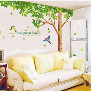Rainbow-Fox-Albero-Adesivo-da-parete-per-Adesivo-da-parete-per-soggiorno-con-riproduzione-di-albero-a-foglie-verdi-0