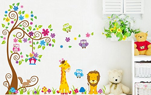 Albero fiore colorato gufi leone cervo adesivi murali - Adesivi camera bambini ...