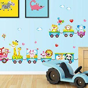 Rainbow-Fox-Treno-con-Cute-Animals-leone-Elefante-giraffa-scimmia-coniglio-TigerWall-adesivi-decalcomanie-Casa-dei-bambini-della-scuola-materna-rimovibile-Wall-Stickers-parete-Wall-Decoration-0