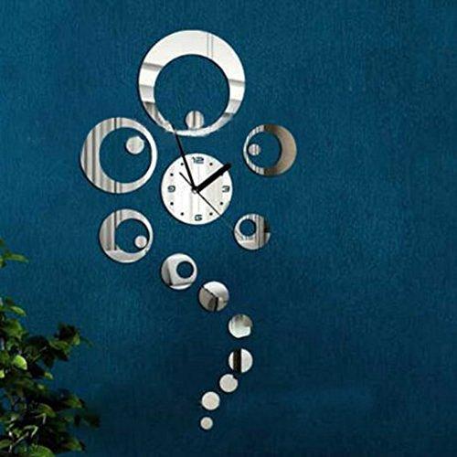 Orologio da parete adesivo con decorazioni a specchi 3d - Specchi da parete amazon ...