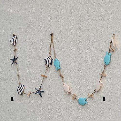 Filo porta foto con pesci e stelle marine 5pz mukkamu shop - Decorazioni da parete in legno ...