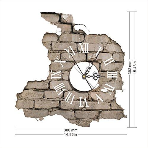 Orologio da parete con numeri romani effetto muro dimensioni 39 38cm mukkamu shop - Camera da letto decorazioni murali ...